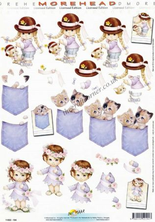 Morehead Little Girl With Pig Tails & Adorable Kittens 3D Decoupage Sheet